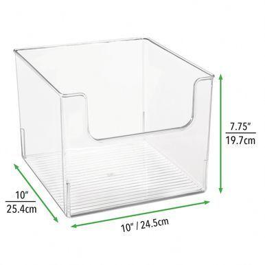 Wide Plastic Bathroom Vanity Storage Bin With Dipped Front 10 X 10 X 7 75 In 2020 Cube Storage Food Storage Organization Storage Bins