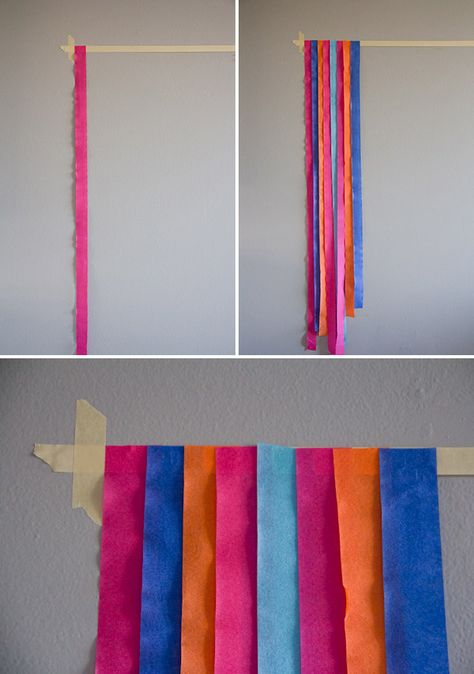 party streamers photo booth diy Create this fun, festive photo backdrop three easy steps! Streamer Backdrop, Diy Photo Backdrop, Backdrop Ideas, Party Streamers, Photo Backdrops, Birthday Streamers, Cheap Backdrop, Booth Ideas, Photography Backdrops