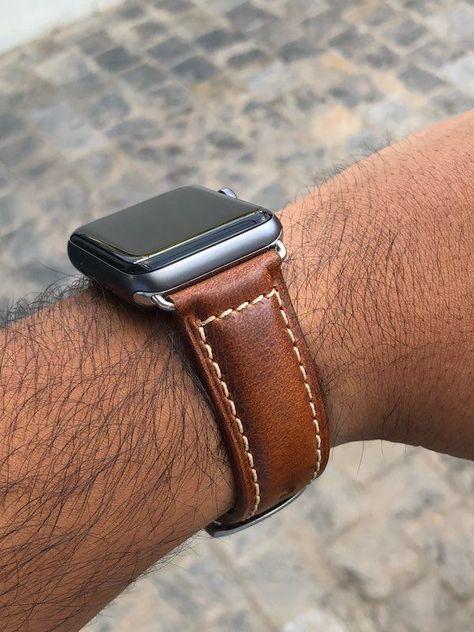 Apple Watch Leder Armband Echtleder Handgefertigt Apple Watch Series 1 2 3 4 Oil Waxed Leder Hellbraun Applewatchseries1