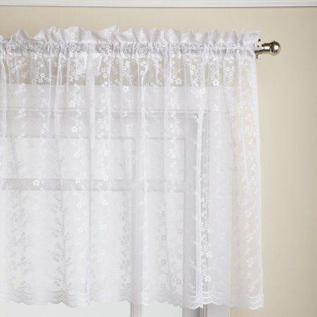 Priscilla Lace White 24 Kitchen Curtain Tier Walmart Com In