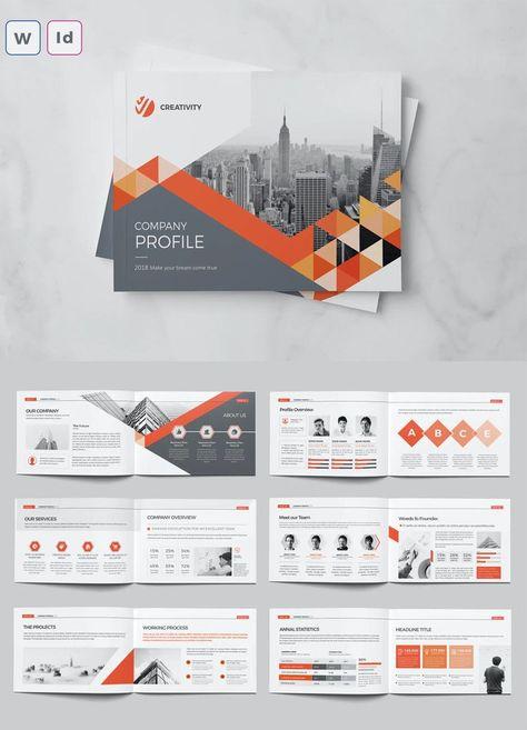 A5 Landscape Company Profile Brochure Template Word, InDesign