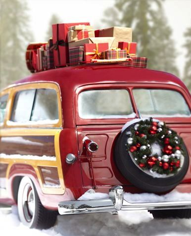 love... vintage woody all decked out for Christmas