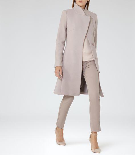 Womens Parchment Wrap-collar Coat - Reiss Hutton