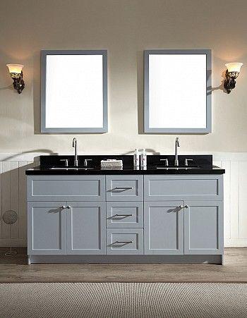 Ariel Hamlet 73 Double Sink Vanity Set With Absolute Black