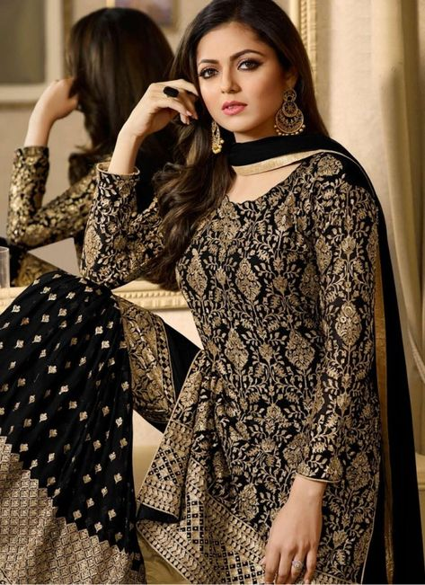 03cf7713fa Glossy Simar Veenaz Pure Georgette Heavy Embroidery Suit 18028