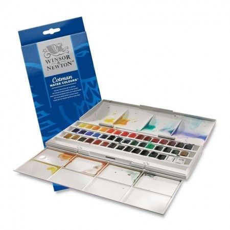 Winsor Newton S Cotman Half Pan Studio Set Of 45 Colors Is A