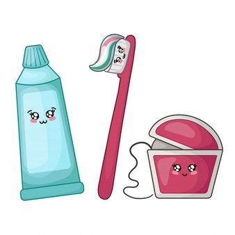 Fio Dental Pasta De Dentes E Escova Kawaii Hilo Dental Cepillo De Dientes Animado Cepillado Dental