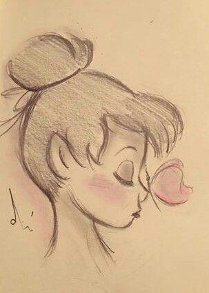 Tinkerbell Sketch Sketches Cute Drawings Disney Drawings