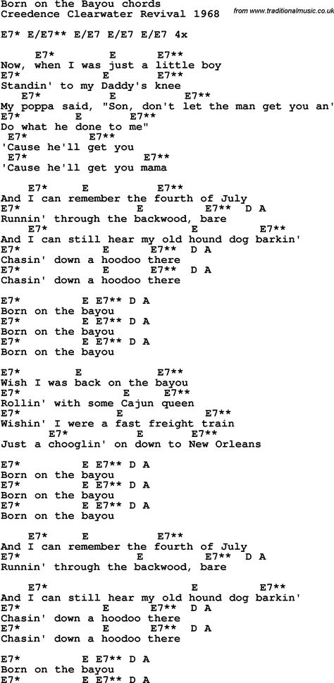 Song Lyrics With Guitar Chords For Born On The Bayou Credence