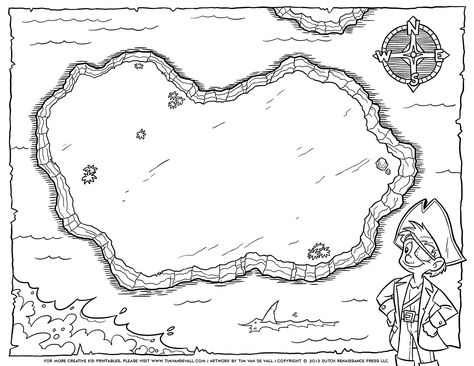 Pirate Treasure Map Coloring Pages | pre-k stuff | Pinterest ...