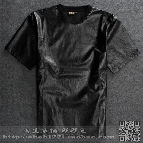 Zwart Shirt Met Leer.I Would Do This In Real Leather Instead Gift Ideas For Him