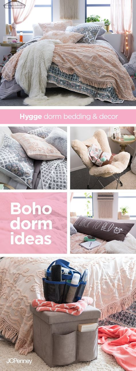 Your flower child will blossom in this bohemian dorm decor. Pair a whipped-cream colored shag rug and accent pillows with a vintage blush chenille throw for touchable textures. Toss it over muted gray bedding and a dual-sided comforter set. Tip: Add macrame wall hangings and shag study pillows for a vibe that's new-school trendsetter meets throwback sophisticate. Hygge girl twin and twin XL sets include Jasmin coverlet, Modern Romance quilt and gray jersey comforter set, exclusively at JCPenney.