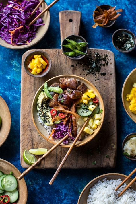 Hawaiian Ahi Tuna Poke Bowl - easy, fresh, fast, HEALTHY and so flippin good! Find this recipe and more athalfbakedharvest.com