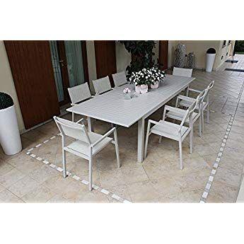 Tavoli Allungabili Da Giardino In Plastica.Tavolo Da Esterno Allungabile 150 210 X 90 Cm Con 4 Poltrone In