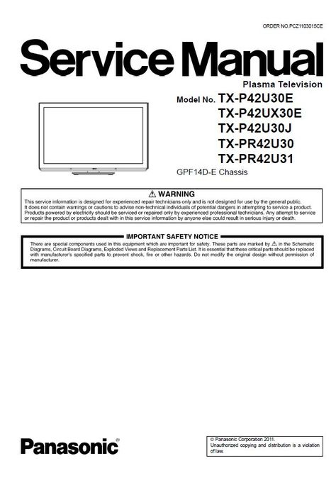 Panasonic Tx P42u30e P42u30j P42ux30e Tv Service Manual And Repair Guide Repair Guide Tv Services Repair