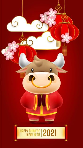 Chinese New Year 2021 Greeting Card The Year Of The Ox In 2021 Chinese New Year Greeting Chinese New Year Wishes Chinese New Year Card