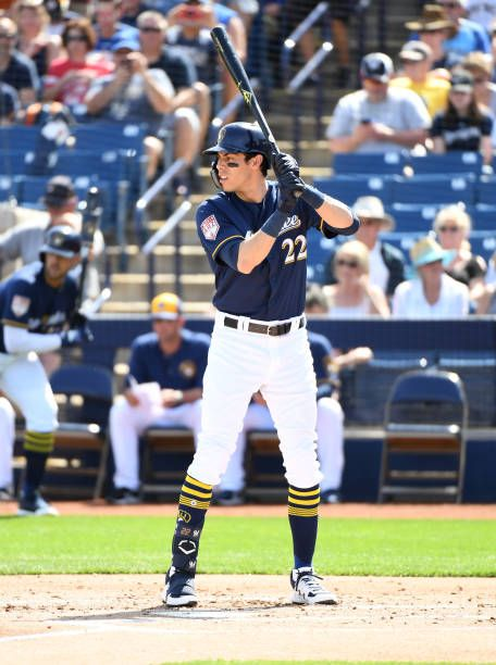 Christian Yelich of the Milwaukee Brewers gets ready in the ...