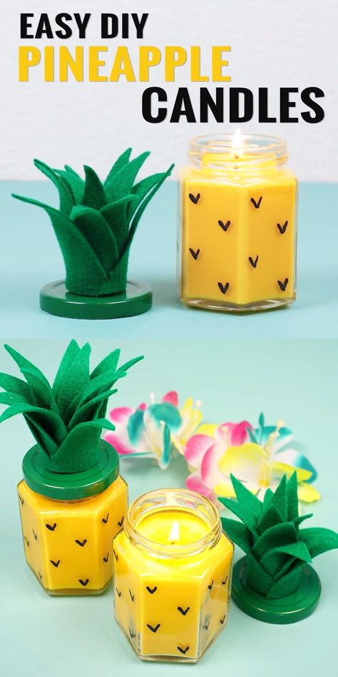 Easy DIY Pineapple Candles - Ever wondered how to make candles? These Easy DIY P., Easy DIY Pineapple Candles - Ever wondered how to make candles? These Easy DIY Pineapple Candles are SO simple to make, and they smell amazing! Homemade Candles, Homemade Crafts, Mason Jar Crafts, Mason Jar Diy, Easy Diy Gifts, Creative Gifts, Diy Gifts Videos, Crafts For Kids, Kids Diy