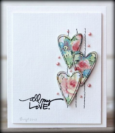 Hearts by Biggan/Birgit - Cards and Paper Crafts at Splitcoaststampers … Stamps: Technique Tuesday … Paper: Paper Accents, Prima … Accessories: Halfpearls Fabric Cards, Paper Cards, Paper Paper, Fabric Postcards, Tarjetas Diy, Heart Cards, Valentine Day Cards, Valentines Diy, Printable Valentine
