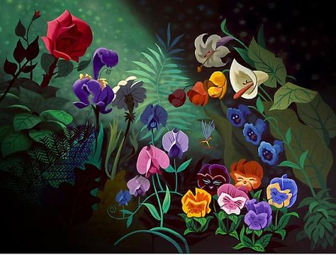 So much love for Mary Blair! You can learn a lot of things from the flowers For especially in the month of June There's a wealth of happiness and romance All in the golden afternoon Original concept art by Mary Blair Alice In Wonderland Flowers, Alice In Wonderland 1951, Adventures In Wonderland, Alice In Wonderland Background, Mary Blair, Walt Disney, Disney Love, Disney Art, Disney Wiki