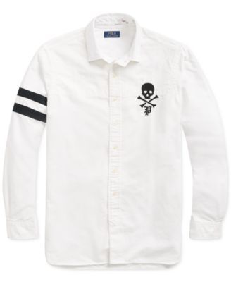 NEW Polo Ralph Lauren Mens White Skull Crossbones Button Down Shirt Red White