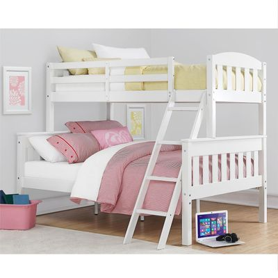 Kids White Twin Over Full Bunk Bed Wood Bunk Beds Bunk Beds