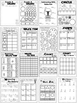 Star Wars Base Ten Fact Fluency 2d Shapes And More Kindergarten Math Packet Kindergarten Math Subtraction Kindergarten Math Packets