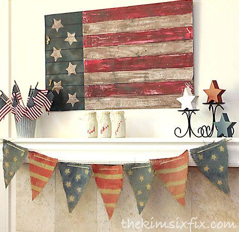 Vintage Fourth of July mantel