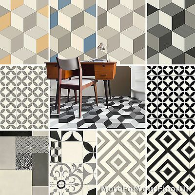 Details About Pattern Vinyl Flooring Modern Cubes Retro Tiles