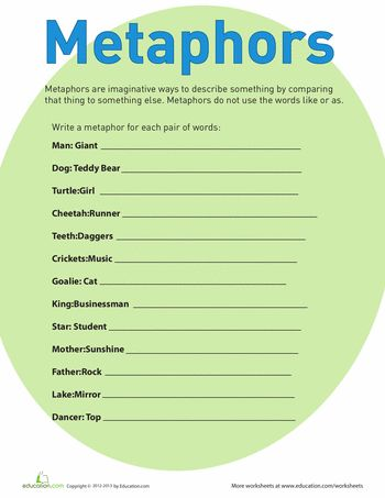 Metaphor worksheet Great site with many ideas to support critical - best of writing invitation worksheet