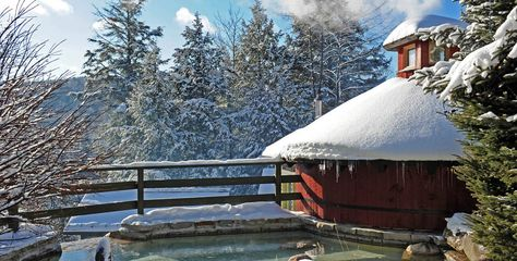 Scandinave Spa Mont Tremblant Is Ideal For Apres Ski Sit Under A Hot Waterfall And Then Plunge Into The River 32 Degrees Yesterday Mont Tremblant Outdoor Spa