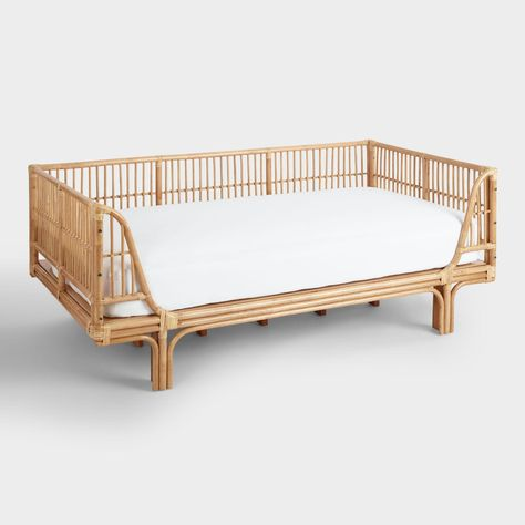 SHOP NOW: Honey Rattan Daybed. Give your guest room or living space an organic feel with our rattan daybed. A solid pine wood frame with a curvy silhouette and rattan weave in a honey-hued finish give this piece style to spare. Rattan Daybed, Rattan Furniture, Cool Furniture, Living Room Furniture, Daybed Room, Furniture Online, Furniture Stores, Luxury Furniture, Nursery Daybed