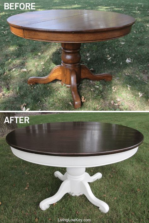 This is gorgeous! You are going to love this rustic farmhouse kitchen table makeover! I have an old round table at my house and I can't wait to give this project a try! If your inner Joanna Gaines is looking for a DIY project you have give this a try! Round Farmhouse Table, Rustic Table, Rustic Kitchen, Kitchen Decor, Kitchen Ideas, Round Kitchen, Kitchen Paint, Kitchen Planning, Updated Kitchen