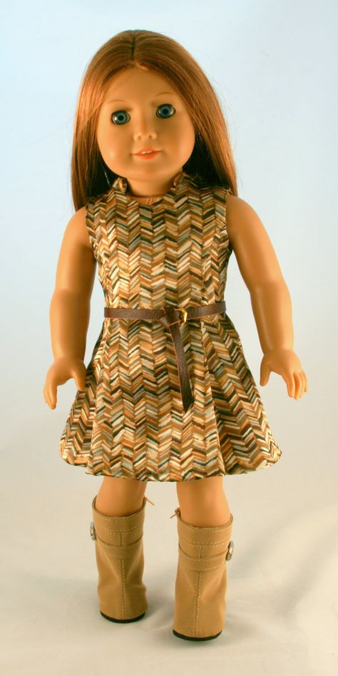 American Girl Doll Clothes - 70's Panel Dress (view without the cardigan).