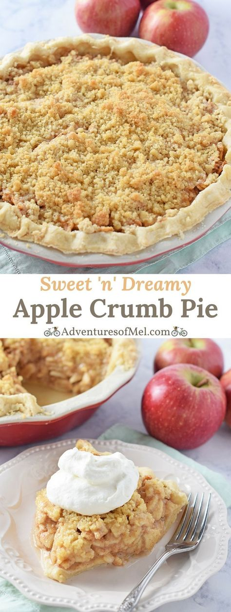 Apple Crumb Pie, made with fresh apples and a scrumptious brown sugar crumble topping, a delicious dessert. My family's favorite apple pie recipe! #applepie #pie #dessert #desserttable #desserttime #applerecipe #delicious #food #Thanksgiving #fallrecipe #apples #applecrumbpie #pierecipe #crumbtopping #familyfavorite