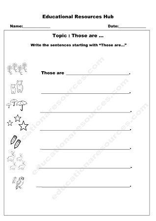 Those Are English Worksheet Printable English Worksheet Make Sentences Worksheets Senior kindergarten worksheets pdf