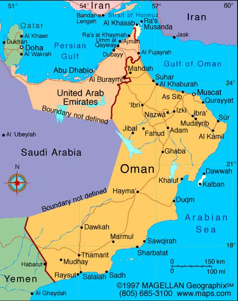 Mao Of Oman Oman Dubai Map Sultanate Of Oman