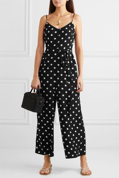 Short Sleeves V Neck Polka Dot Wide Leg High Waist Romper Outfit with Pockets Clubwear Womens Jumpsuits