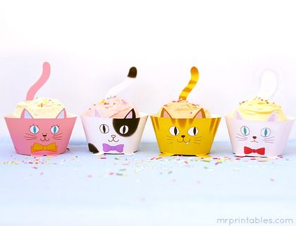 Cup Cats! Printable Cupcake Wrappers - Mr Printables