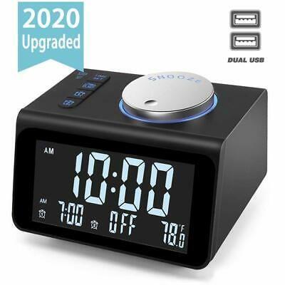 Upgraded Digital Alarm Clock With Fm Radio Dual Usb Charging Ports