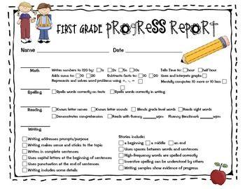Progress Report For First Grade Progress Report First Grade