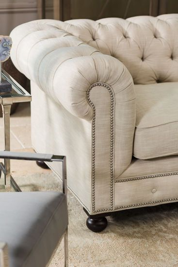 100 Low Profile Tufted Silver Nailhead Trimmed Sofa In Linen