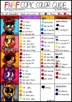 Five Nights At Freddy's Characters Names And Pictures : nights, freddy's, characters, names, pictures, Copic, Color, Guide, Original, Animatronics, Spacecat-Studios, Fnaf,, Bear,, Coloring