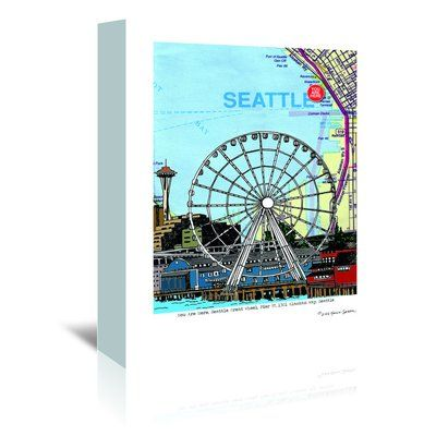 Seattle Great Wheel Graphic Art On Wrapped Canvas Kids Art Wall Frames Gallery Wrap Canvas Graphic Art