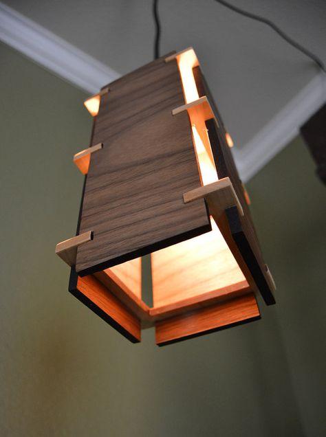 Colgante de madera con luz _Craftsman