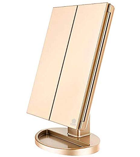 Tri Fold Lighted Vanity Makeup Mirror With 21 Led Lights Touch Screen And 10x 3x 2x 1x Magnification Cosmetic Mirror Magnification Mirror Makeup Mirror