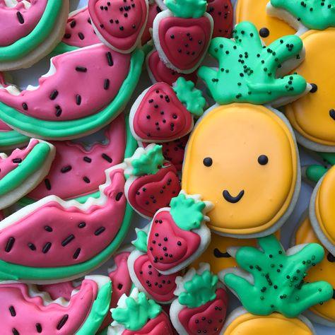 Fruit sugar cookies - pineapple, watermelon, strawberry - royal icing