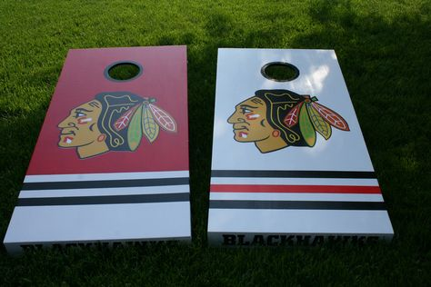 Custom Made Chicago Blackhawk Cornhole Boards with premium legs and decals