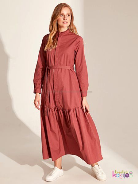 Kusakli Pamuklu Firfir Detayli Elbise 2020 Elbise Uzun Elbise Elbise Modelleri