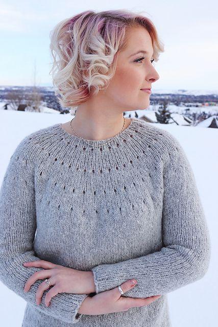 Easy Eyelet Yoke Sweater Pattern By Knitatude Chantal